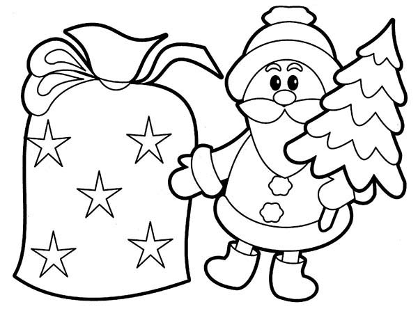 Cookie Shaped Santa Claus And Christmas Tree Coloring ...