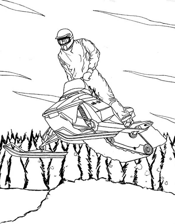 Cool Winter Season Snowmobile On Action Coloring Page