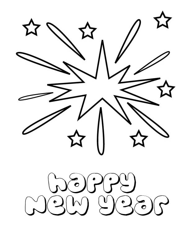 Lovely Firework On New Years Eve On 2015 New Year Coloring ...
