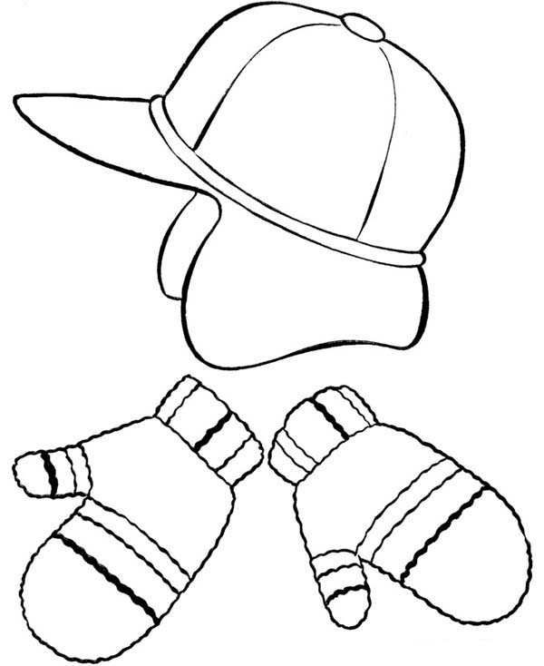 Picture Of Winter Season Clothing Coloring Page : Coloring Sky
