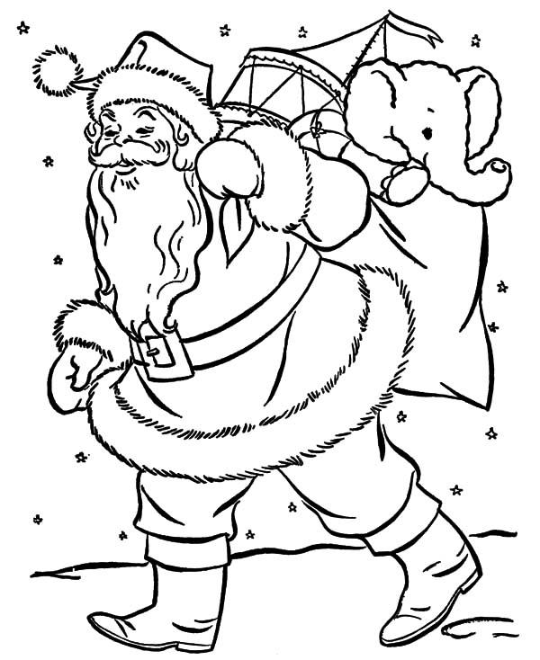 santa claus carrying big bag coloring pages