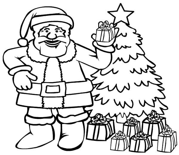 santa claus picture in front of christmas tree coloring pages