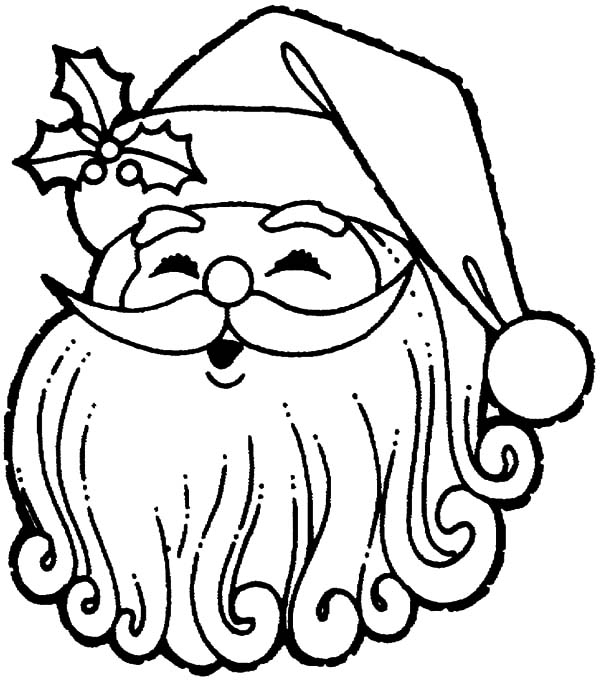 santa claus put a christmas decoration on his hat coloring pages