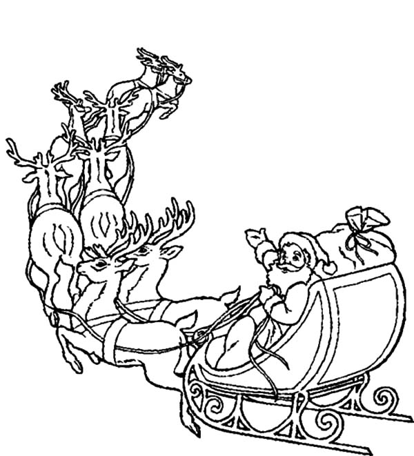 Santa Claus Ride His Famous Sleigh Coloring Pages : Coloring Sky