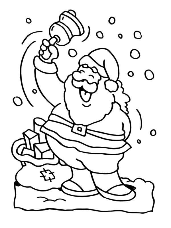 Santa Claus Ringing Bell Coloring Pages Coloring Sky