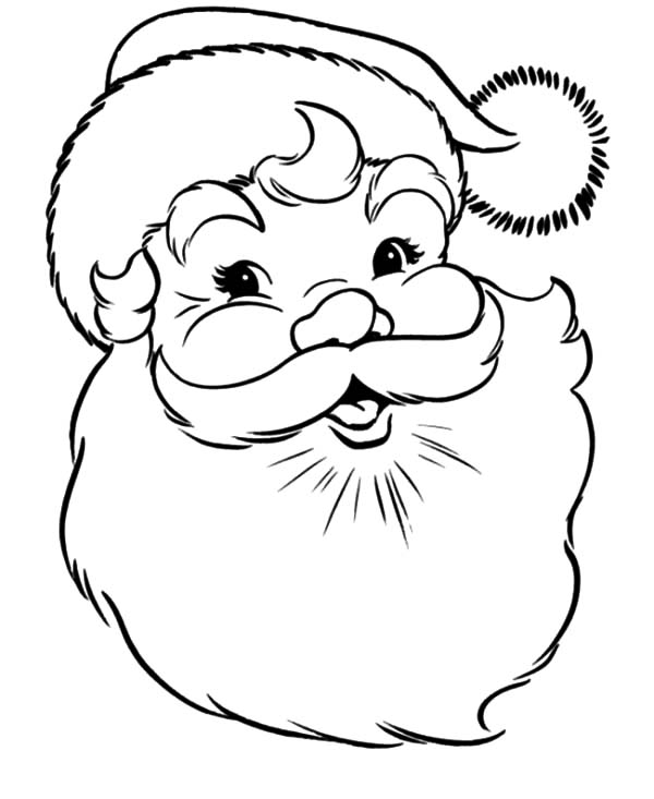 Santa Claus Smiling Face Coloring Pages | Coloring Sky