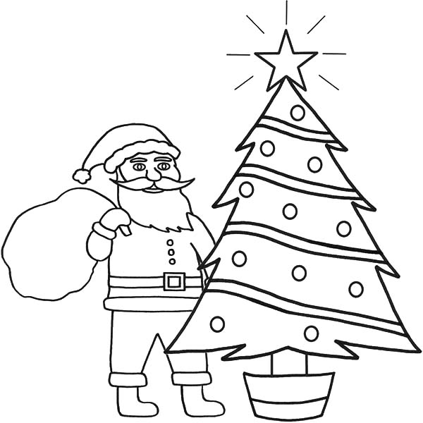 Santa Claus Watching Shiny Star On Top Of Christmas Tree Coloring Pages Coloring Sky