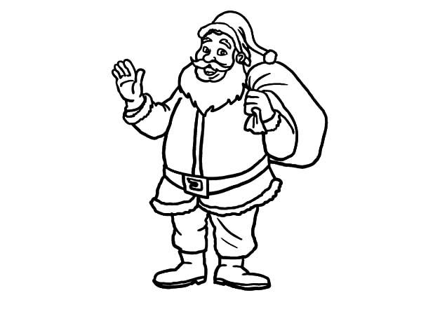 Santa Claus Waving His Hand Coloring Pages Coloring Sky