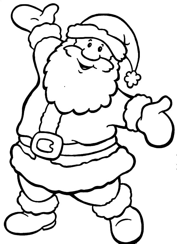 Santa Claus Is Happy Because Christmas Is Coming Coloring Pages