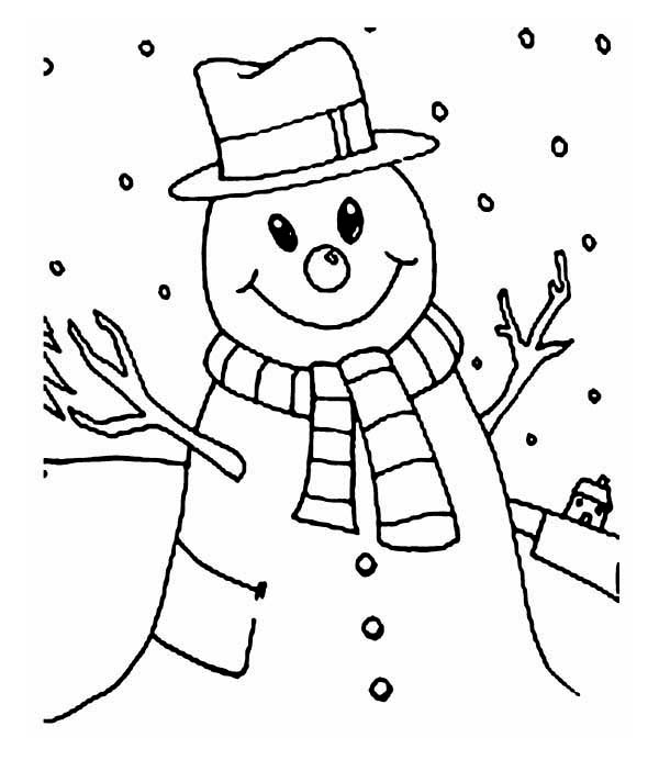 Smiling Mr Snowman On Winter Season Day Coloring Page Coloring Sky