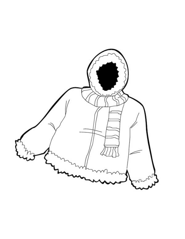 Warm Jacket In Winter Season Coloring Page Coloring Sky