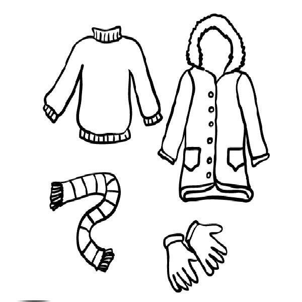 Winter Season Clothing Coloring Page For Childrens Coloring Sky