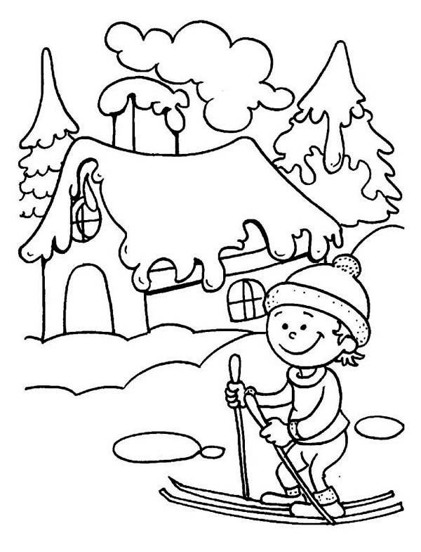 Young Little Kid Learning How To Play Ski On Winter Season Coloring