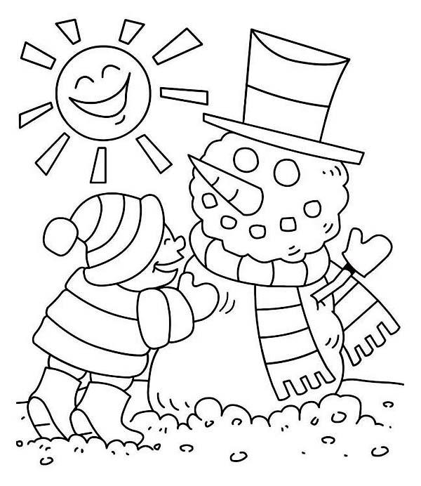 Young Little Kid Making Mr Snowman On Sunny Winter Season ...
