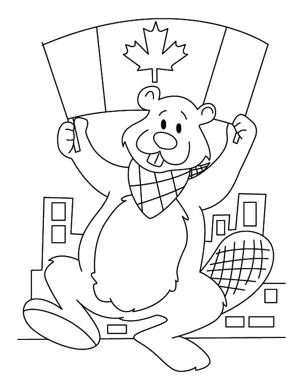 Canada Day Event, : A Beaver with National Flag on Canada Day Event Coloring Pages