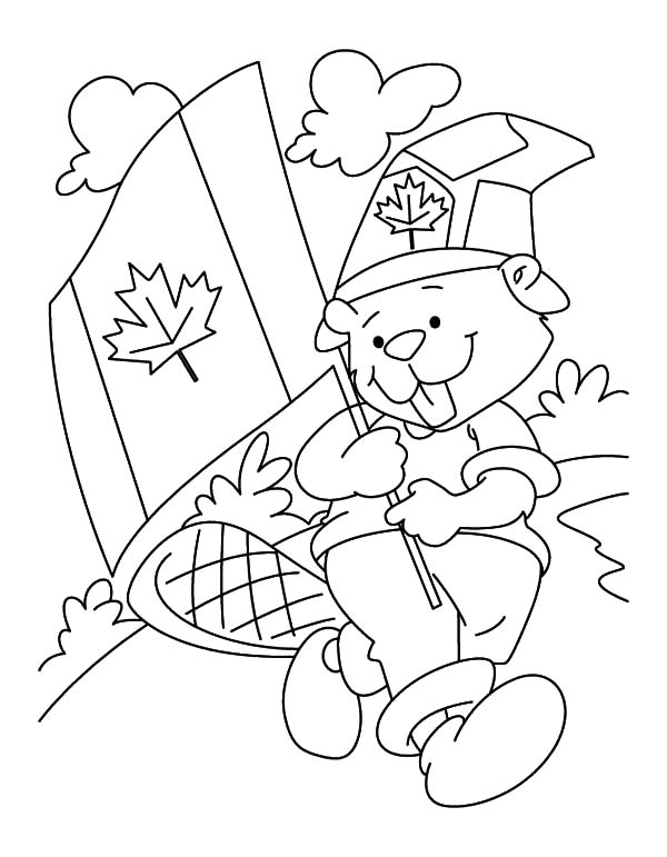 Canada Day Event, : A Cuddly Beaver Boyscout on Canada Day Event Coloring Pages