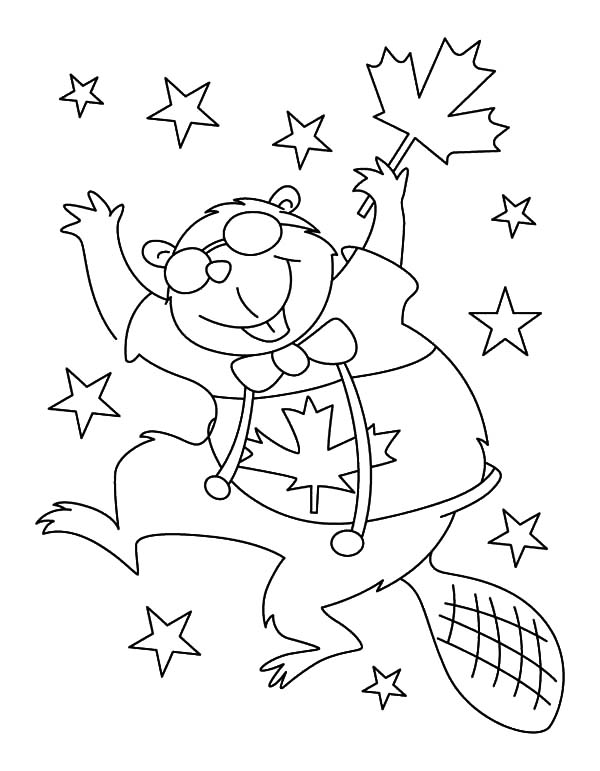 Canada Day Event, : A Joyful Beaver Dancing on Canada Day Event Coloring Pages