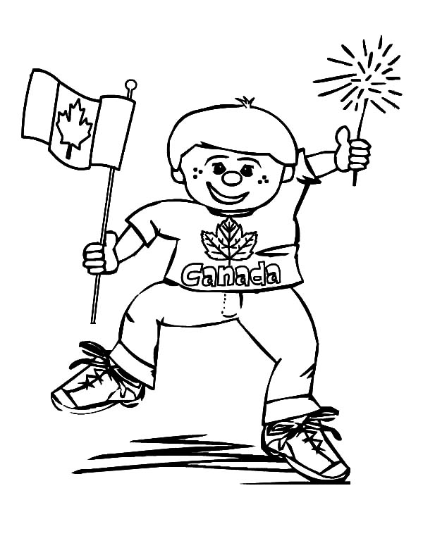 Canada Day Event, : A Joyful Little Boy on Canada Day Event Coloring Pages