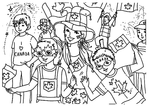 Canada Day Event, : Bunch of Childrens Celebrating Canada Day Event Coloring Pages