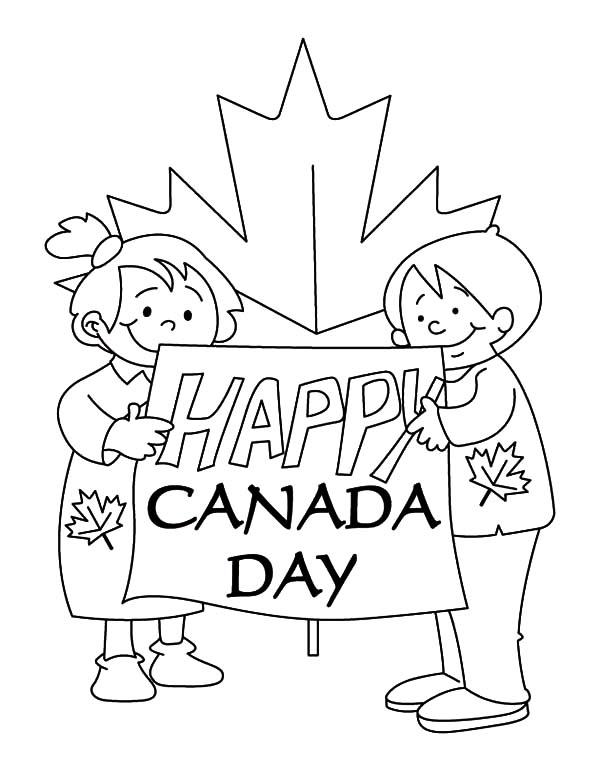 Canada Day Event, : Couple of Childrens Making Sign for Canada Day Event Coloring Pages