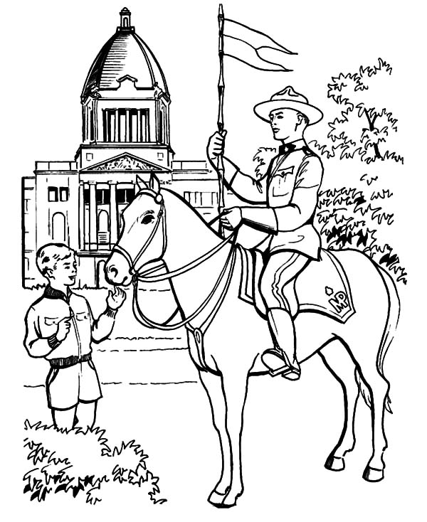 Canada Day Event, : Famous Canadian Horse Guard on Canada Day Event Coloring Pages