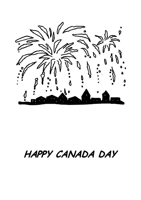 Canada Day Event, : Lovely Fireworks on Canada Day Event Coloring Pages