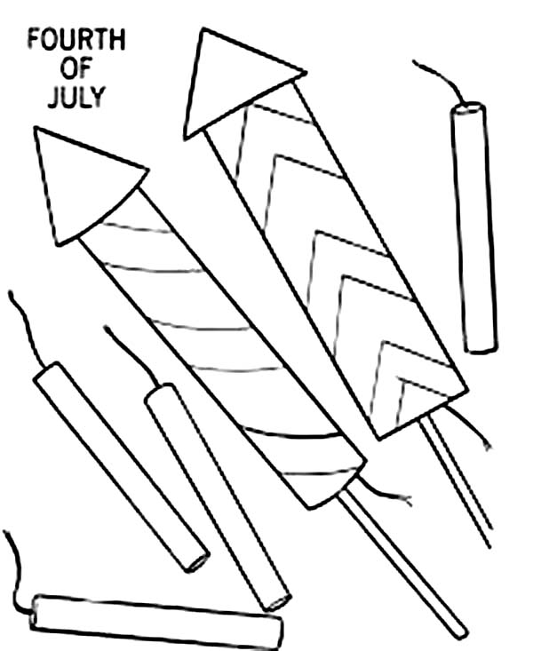 Independence Day, : Preparing Fireworks and Firecracker for Independence Day Celebration Coloring Page