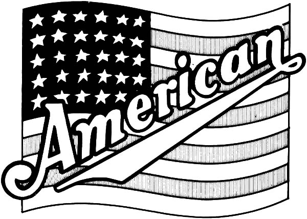 Independence Day, : Proud United States Flag for Independence Day Celebration Coloring Page