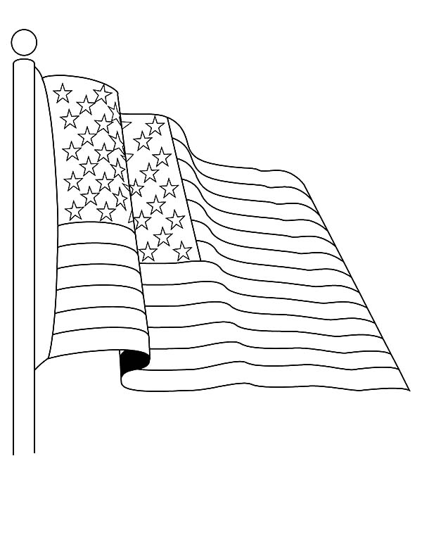 Independence Day, : Salute to United States Flag on Independence Day Celebration Coloring Page 2