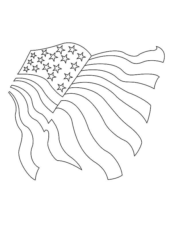 Independence Day, : Sketching United States Flag for Independence Day Celebration Coloring Page 2