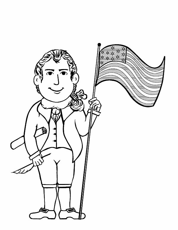 Independence Day, : Thomas Jefferson and United States Flag on Independence Day Celebration Coloring Page