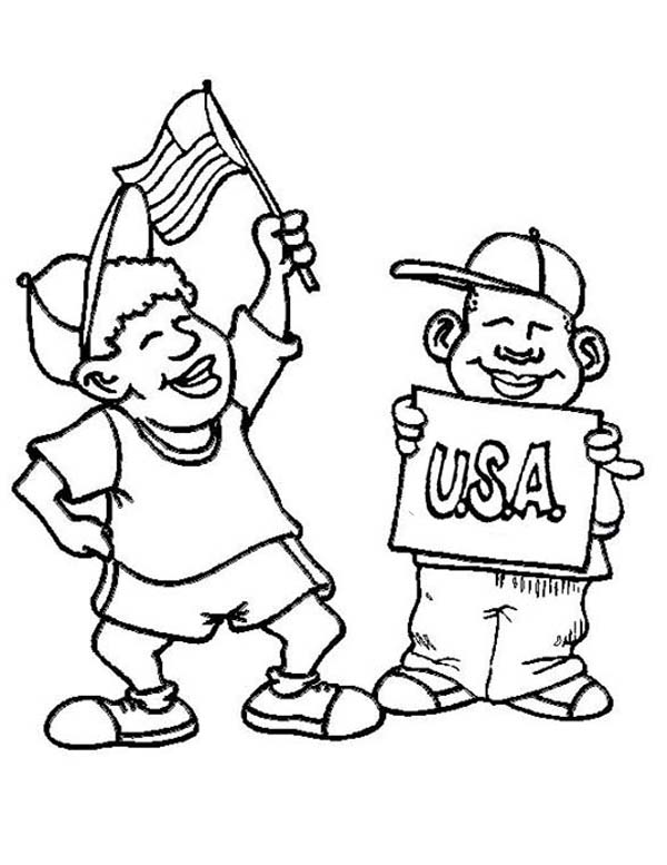 Independence Day, : Two Kids Enjoying Independence Day Celebration Coloring Page