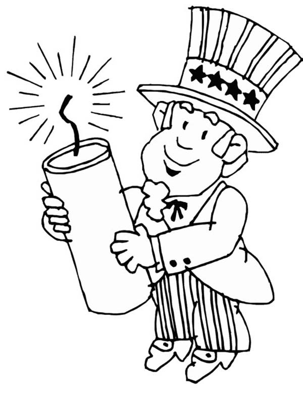 Independence Day, : Uncle Sam Holding Firecracker for Independence Day Celebration Coloring Page