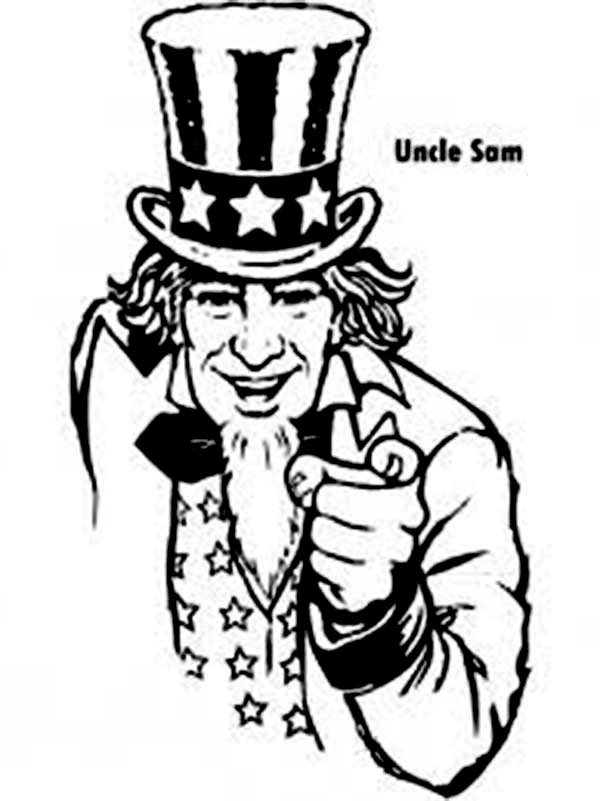 Independence Day, : Uncle Sam and Independence Day Celebration Coloring Page