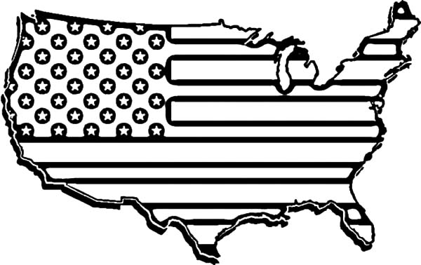 Independence Day, : United States Flag Map for Independence Day Celebration Coloring Page