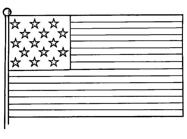 Independence Day, : United States Flag Picture for Independence Day Celebration Coloring Page