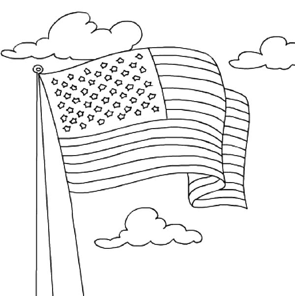 Independence Day, : United States Flag Waving on Independence Day Celebration Coloring Page