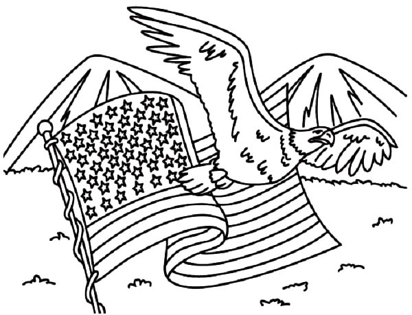 Independence Day, : United States Flag and Eagle for Independence Day Celebration Coloring Page