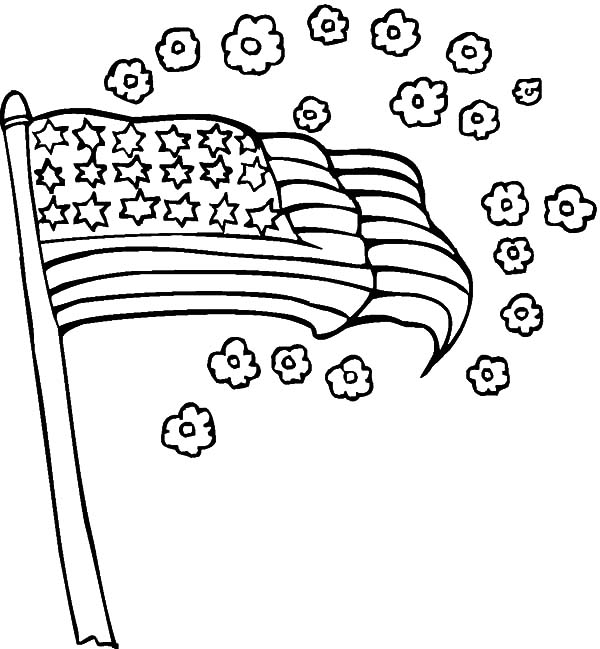 Independence Day, : United States Flag and Flower for Independence Day Celebration Coloring Page