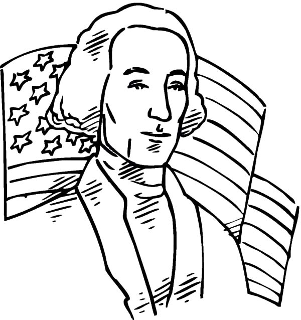 Independence Day, : United States Flag and George Washington on Independence Day Celebration Coloring Page