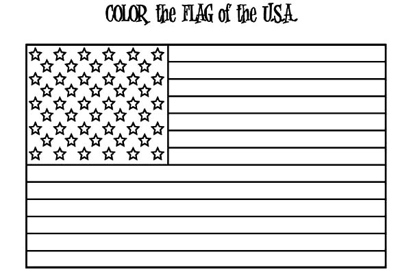 Independence Day, : United States Flag for Independence Day Celebration Coloring Page