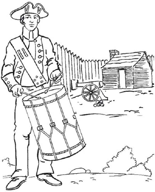 Independence Day, : United States Soldier Fight for Independence Day Celebration Coloring Page