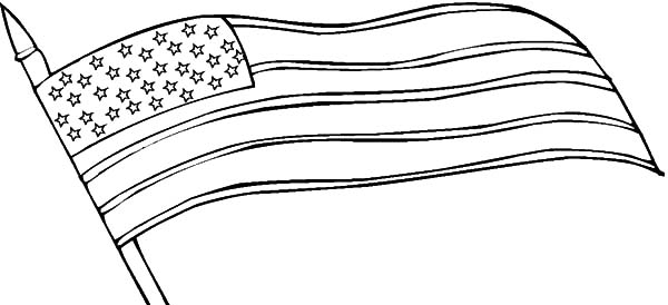 Independence Day, : Waving United States Flag for Independence Day Celebration Coloring Page