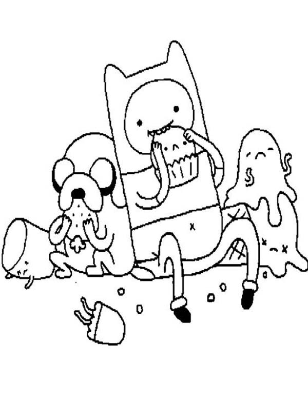 Adventure Time Finn And Jack Take Their Lunch Coloring Pages ...