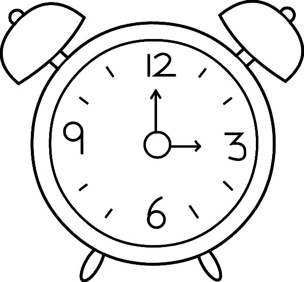 Alarm Clock Outline Coloring Pages