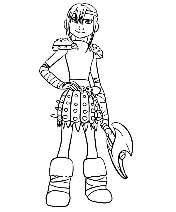 How To Train Your Dragon, : Astrid Holding Her Axe in How to Train Your Dragon Coloring Pages