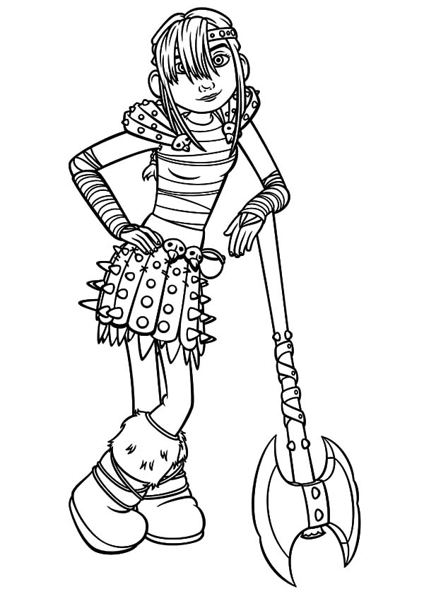 How To Train Your Dragon, : Astrid Standing on Her Axe in How to Train Your Dragon Coloring Pages