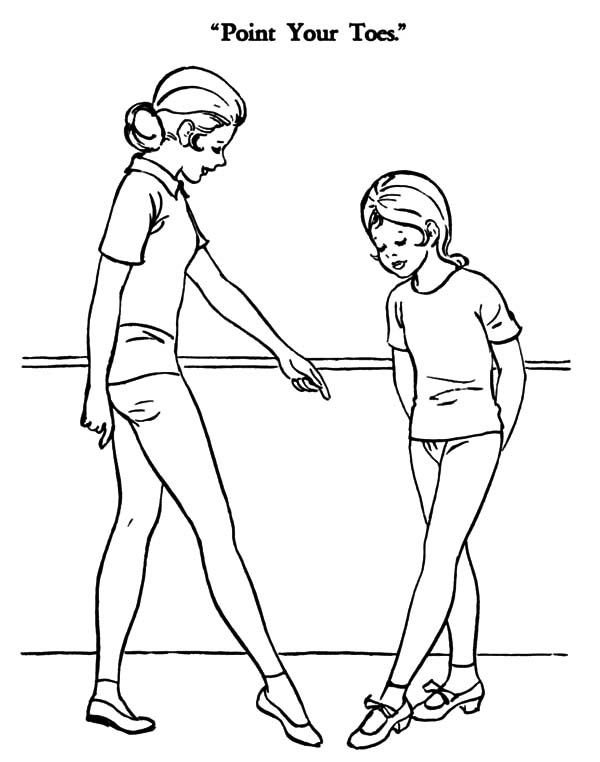 Ballet Girl, : Ballerina Girl Point Yout Toes Coloring Pages
