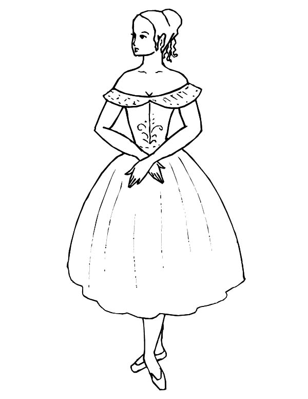 Ballerina Girl Wearing Beautiful Dress Coloring Pages