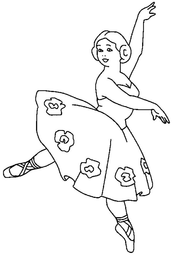 ballerina girl with flower tutu coloring pages   coloring sky